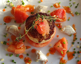 crab cakes at castle hill resort and spa